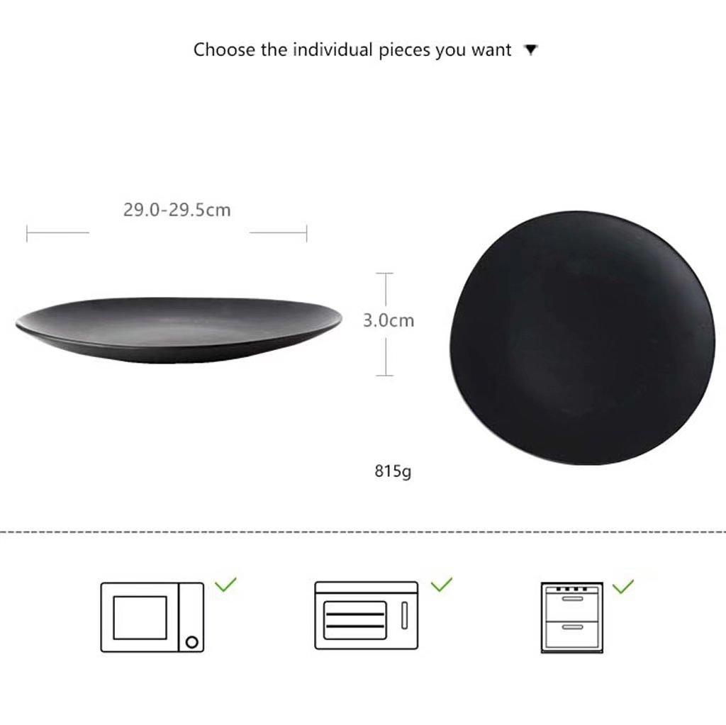 Amazon.com: 11in placa en forma de platos vajilla de cerámica, para ensalada Inicio fruta de la cocina occidental (negro / 815g): Home & Kitchen