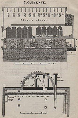 Basilica di SAN CLEMENTE al Laterano Rome mappa 1909 old Saint Clement