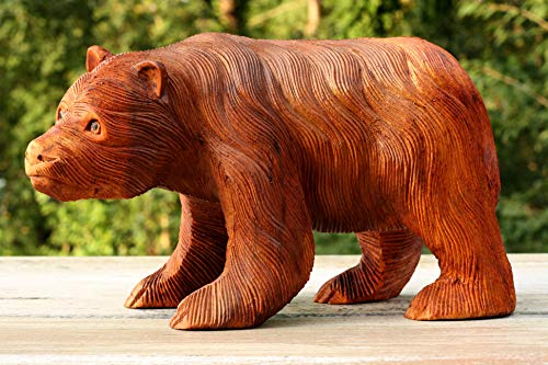 Collection Bear Birthday - G6 Collection Wooden Hand Carved Walking Bear Statue Handcrafted Handmade Figurine Sculpture Art Rustic Lodge Cabin Outdoor Indoor Decorative Home Decor Accent Decoration