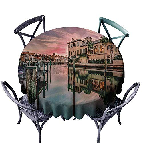 VIVIDX Tablecloth for Kids/Childrens,Cityscape,Colorful Sunrise Over Venetian Bay Naples Florida Apartments Trees Waterscape,Table Cover for Kitchen Dinning Tabletop Decoratio,50 INCH,Purple Green