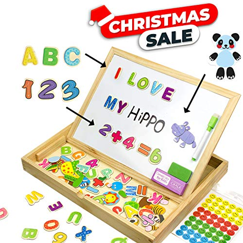 Educational Toy XL Wood Magnetic Letters/Numbers/Animals Set (151 Pieces) - Learning Wooden Puzzle | Drawing Board with Writing Drawing Doodle Side Dry Erase Board for Kids by JQP (Number Magnetic Set)