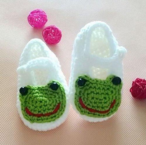 yeah67886bebé niños Lovely calcetines de punto Crochet sandalias zapatos para recién nacido (blanco rana)