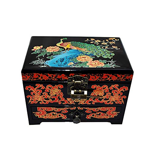 HAIHF Wooden Trinket Box, Handmade Mother of Pearl Inlaid Jewellery Box With Lacquer Finish, Jewellery Organiser, Chinese Painted Lacquer Crafts Jewelry Box Storage Box