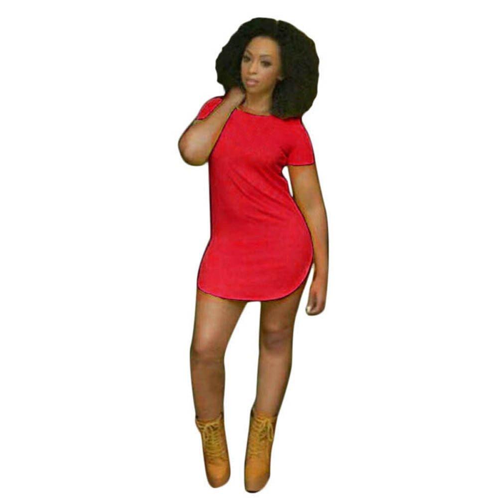 2019 Women Party Mini Dress,Ladies Girls Tops Short Sleeve Side Slit Casual T Shirt (2XL, Red)
