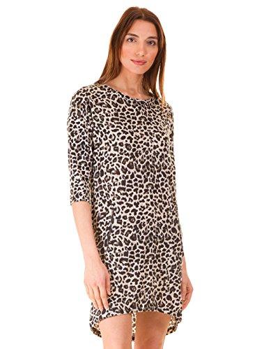 Vestido corto leopardo blanco negro de Ichi Multicolor
