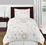Sweet Jojo Designs Blush Pink, Gold, Grey and White Star and Moon Celestial Girl Twin Kid Childrens Bedding Comforter Set 4 Pieces