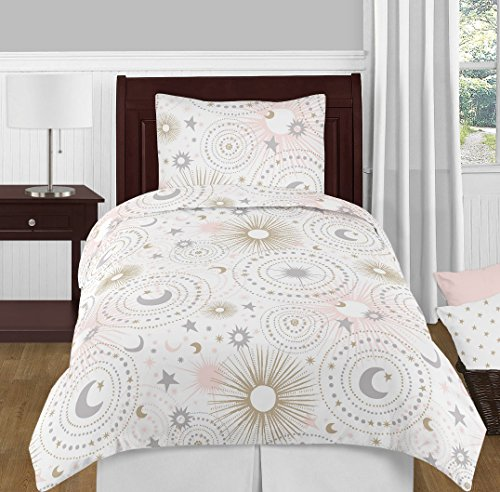 Sweet Jojo Designs 4-Piece Blush Pink, Gold, Grey and White Star and Moon Celestial Girl Twin Kid Childrens Bedding Comforter Set s -