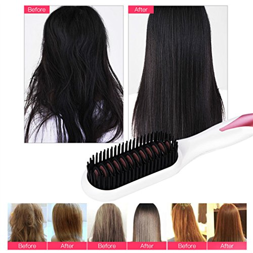 Hair Straightener Brush, inkint Ceramic Hair Straightening Brushes for Women with LED Temperature Display Anti-scald Auto-off Function for All Hair Types and Length by inkint (Image #7)