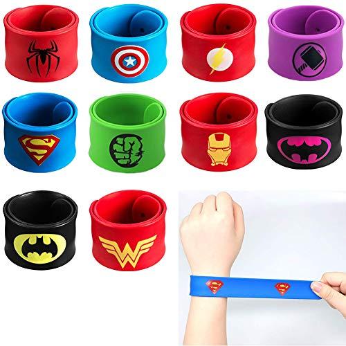 Slap Bracelets Party Favors Superhero Slap Bracelets for Kids Boys Girls Birthday Party Supplies 10 Pack ()