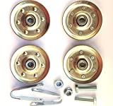 Heavy Duty 3 inch Pulley - 3/8 inch bore - 200 Pound Load Rating. Complete Replacement Kit with 4 Sheaves, 2 Clevis Fork Yoke Straps, 2 Bolts 3/8-16 x 2 inch long and 2 Serrated Flange Nuts.