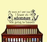 Housewares Vinyl Decal Winnie the Pooh As Soon As I Saw You I Knew an Adventure Was Going to Happen Quote Home Wall Art Decor Removable Stylish Sticker Mural Unique Design for Room Baby Kid Nursery