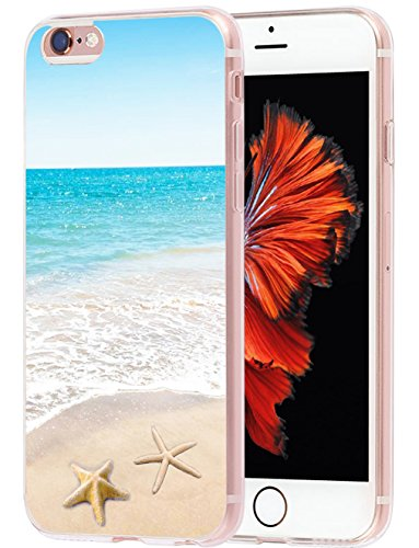 Case for Phone 6S Plus Beach & Cover for 6S Plus & MUQR Skin Rubber Gel Silicone Slim Drop Proof Protection Protector Compatible with iPhone 6/6S Plus & + Beach Wave Starfish Design
