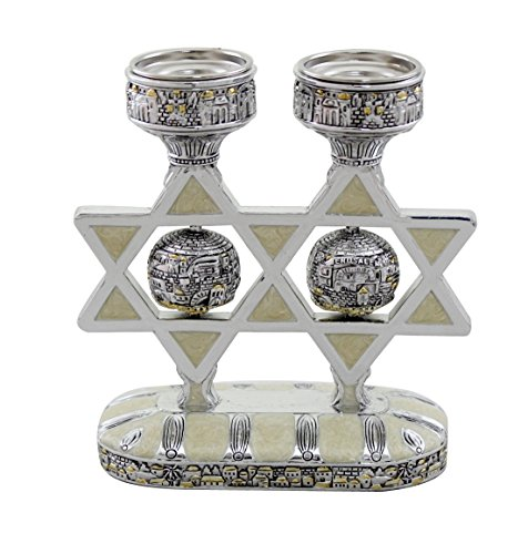 Elegant Star of David Candlesticks for Shabbat and Holidays Enamel and Silver Polyresin Jerusalem (Star Of David Candlesticks)