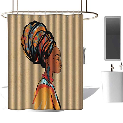 (Shower Curtains Under 5 Dollars Afro Decor,Ethnic Woman with Exotic Feather Earring and Scarf Zulu Hippie Artwork,Caramel Merigold,W55 x L84,Shower Curtain for Small Shower stall)