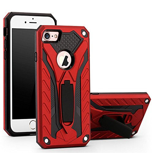 iPhone 6s Case,iPhone 6 Case,Funfe Heavy Duty Built-in Kickstand Protective Cases for Apple iPhone 6 6s Dual Layers Armor Shock Absorption Impact Resistant Rugged Stand Back Cover(Red)