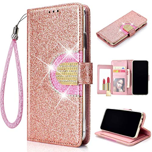 - Glitter Flip Wallet Case for iPhone Xs/iPhone X, Folio Kickstand with Mirror Wristlet Lanyard Shiny Sparkle Bling Luxury Card Slots Cover for Apple iPhone Xs/iPhone X (Rose Gold, iPhone Xs/iPhone X)