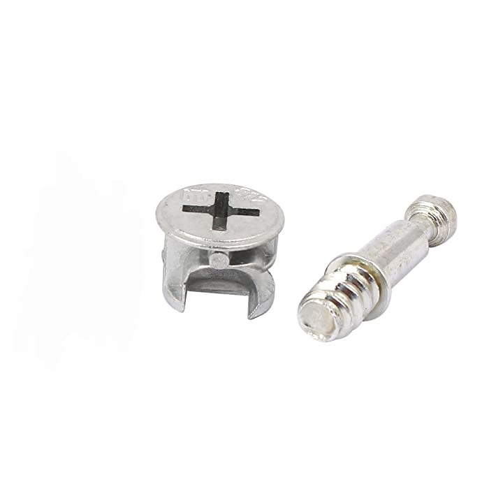 Antrader Furniture Side Knock Down Furniture Cam Lock Connecting Fitting Pre-Inserted Nut Dowels Connector Assembly 30 Sets (812 Fitting+28mm Fitting Screw)
