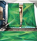 RuppertTextile Mint Window Curtain Fabric Psychedelic Geometric Crystal Pattern with Cosmic Dynamic Digital Boho Print Drapes For Living Room Jade and Lime Green For Sale