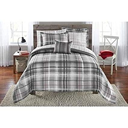 Amazoncom Mainstays Bed In A Bag Bedding Comforter Set Grey Plaid