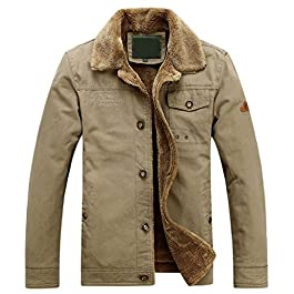 chouyatou Men's Winter Single Breasted Sherpa Lined Twill Work Barn Jacket