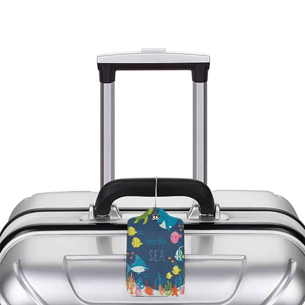 Small luggage tag Cartoon Artsy Underwater Graphic with Algaes Coral Reefs Turtles Fishes the Life Aquatic Quickly find the suitcase Multicolor W2.7 x L4.6