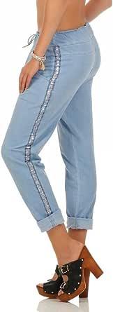 Mississhop - Pantalones de algodón para mujer, con rayas brillantes laterales