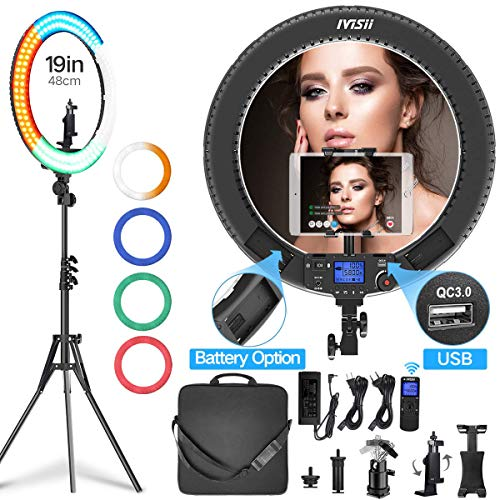 Ring Light with Remote Controller and Stand ipad Holder,Makeup LED Ring Lights 60W Bi-Color 3000K-5800K CRI≥97 & TLCI ≥99 with 4 Color Soft Filters for YouTube, Facebook Live,Twitch and Blogging (Ipad 4 Remote Control)
