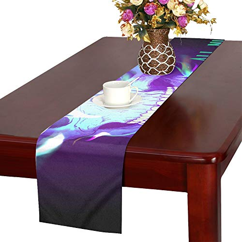 (AIKENING Halloween Party Design with Skull in Flames Raste Table Runner, Kitchen Dining Table Runner 16 X 72 Inch for Dinner Parties, Events,)
