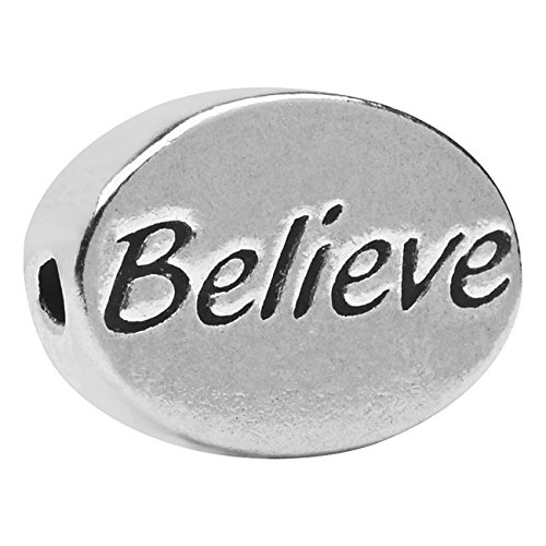 Beadaholique Pewter Lead Free Message Believe Bead Charm, 11 by - Message Believe Bead