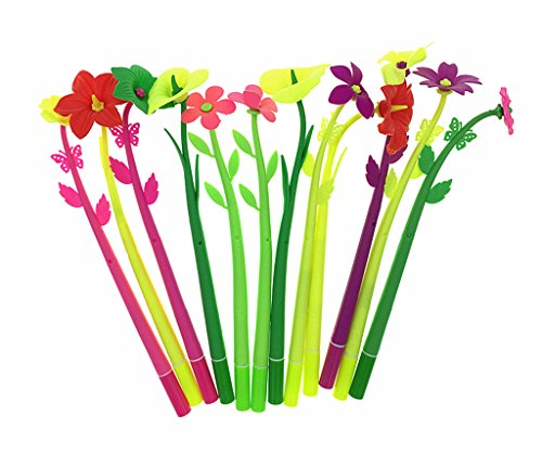 12pcs Gel Pen,Assorted Silicon Fake Floral Flower Rollerball Pen(Randomly Mixed Colors)