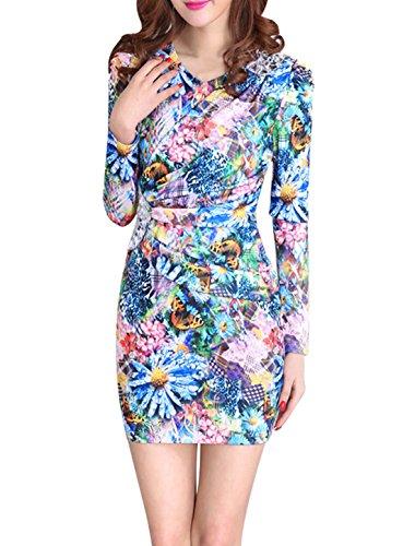 Damen Elegant V Ausschnitt Lang Quaste Ärmel Gerafftes Kleid - Mehrfarbig, Damen, S - EU34