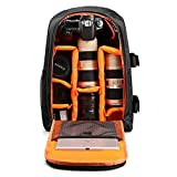 YiYiNoe DSLR Camera Backpack Bag for Lenses,Photography Accessories,Flash,Customizable Interior Storage,for 15.6 inch Laptop,Ipad,with Rain Cover Orange