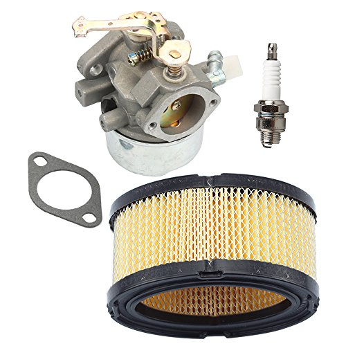 Carburetor with Air Filter Spark Plug For Tecumseh HM80 HM90 HM100 LH318XA LH358EA 640152A 640023 640140 640051 640152 640260 Carb Lawnmower Snow blower Oregon 50-655 Rotary 13154 by Buckbock