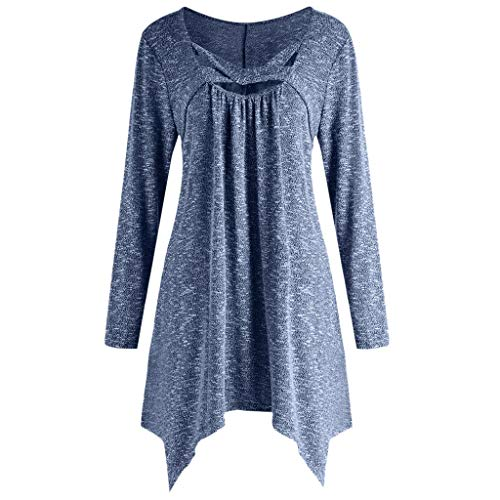 Women Blouse,Longay Women Plus Size Solid Long Sleeve Cross O-Neck Irregular Casual Top Blouse Tee (Blue, -