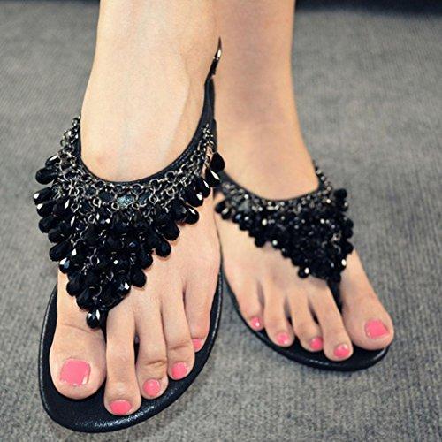 Transer 2016 1Pair Zapatos cristalinos de las mujeres con el colgante del Rhinestone sandalias planas bohemias Negro