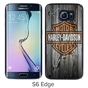Personalized Samsung Galaxy S6 Edge With harley davidson logo Black Customized Photo Design Samsung Galaxy S6 Edge Phone Case