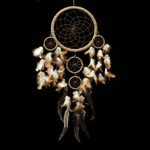 Caught Dreams Dream Catcher ~ Handmade Traditional String Natural Color 10.5 Diameter and 28 Long