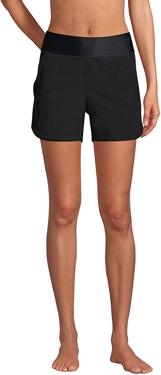 "Lands' End Women's 5"" Quick Dry Elastic Waist Board Shorts Swim Cover-up Shorts with Panty"