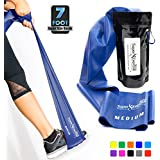Super Exercise Band 7 Ft. Long Latex Free Resistance Bands. Your Home Gym Fitness Kit for Strength Training, Physical Therapy, Yoga, Pilates, Chair Workouts. You choose Light, Medium or Heavy.