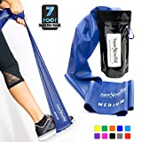 Super Exercise Band Medium Blue 7 ft. Long Resistance Band. Latex Free Home Gym Fitness Kit for Strength Training, Physical Therapy, Yoga, Pilates or Chair Workouts. Plus Carry Pouch & E-Book.
