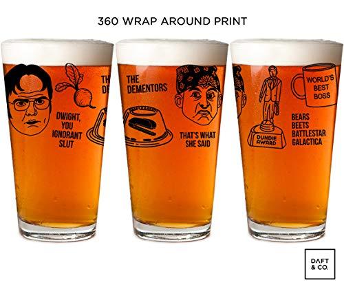 Office Wrap Around, Jello, Prison Mike The Dementors, Dundie, Best Boss, Dwight, Mug Beer Pint Glass