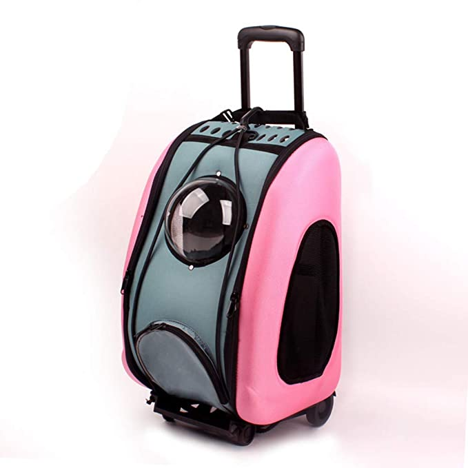 Pet Trolley Backpack, Space Capsule Out Shoulder Bag Portable Teddy Dog Small Dog Cat Carrier Travel Tote with Wheel (Pink)