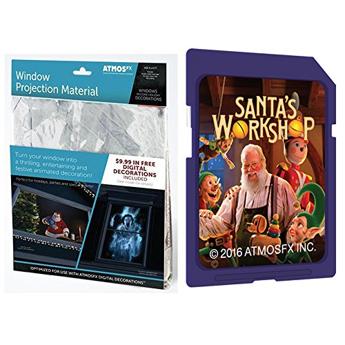 (AtmosFEARfx Christmas Digital Decorations Kit includes AtmosFX 4 ft x 6 ft Projection Screen + AtmosCHEERfx Christmas Video (Santa's Workshop SD)