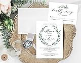 Leafy Wedding Invitation, Rustic Wedding Invitation, Simple Leaves Wedding Invitation