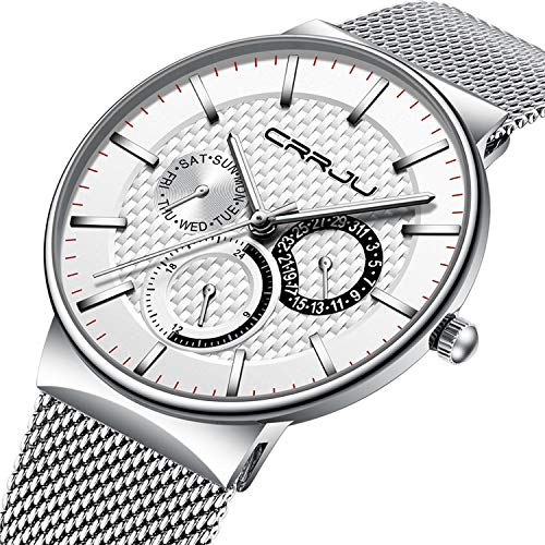 (Mens Watch Ultra-Thin Case White Milanese Mesh Sub Dial Analogue Quartz Watch Calendar Waterproof Business Design Casual Dress Watch - All White)
