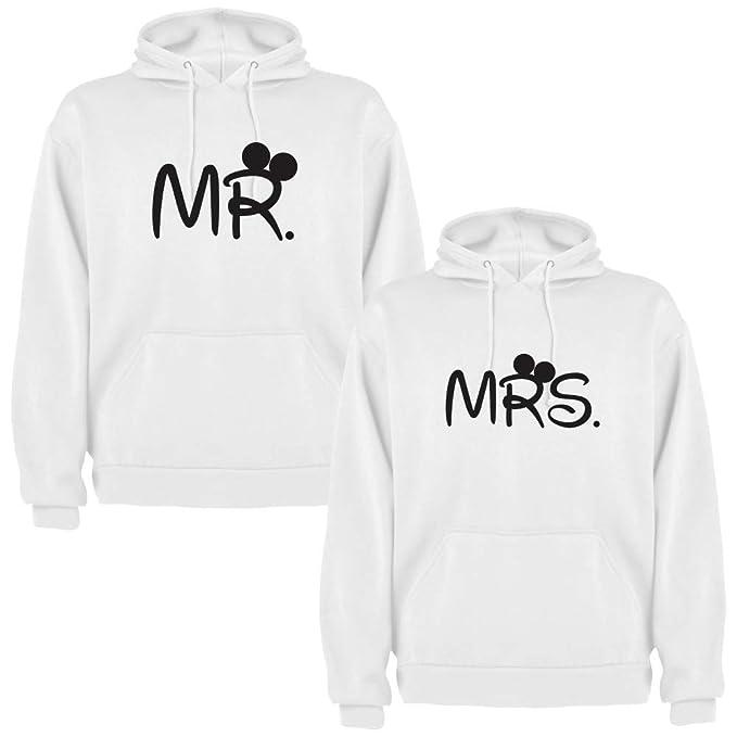 Pack de 2 Sudaderas Blancas para Parejas, MR. y Mrs, Negro (Mujer