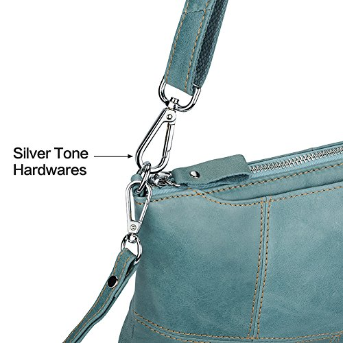 Zipper Purse Card Green Crossbody 3 Lecxci Small with Women Womens for Leather Slots Bag Clutch Wallet Phone Leather wax BBXz7a