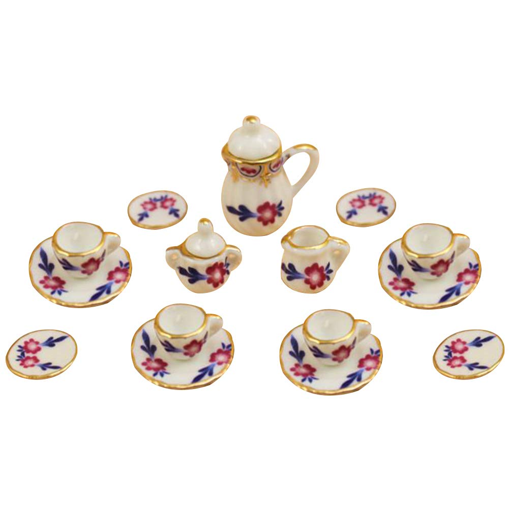 hitonsmusu 15Pcs//Set Doll House Accessories Miniature Ceramic Floral Tea Pot Cup Saucers Tableware Toy Doll House Decoration Kids Gift Cherry