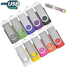 Flash Drive 16GB 10 Pack, Memory Stick 10 PCS JBOS Swivel Thumb Drives Gig Stick USB2.0 Pen Drive for Fold Digital Date Storage Data Traveler Flash Stick USB Stick, Mixed Colors