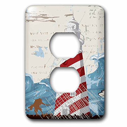 (Anne Marie Baugh Beaches - A Red and White Lighthouse With a Sea Wave. - Light Switch Covers - 2 plug outlet cover (lsp_152545_6))
